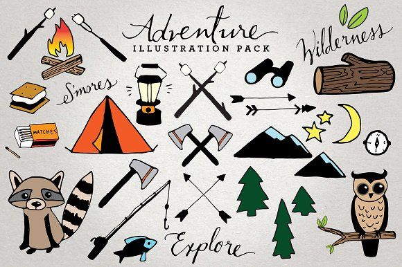 Adventure & Camping Illustration Set by Lemonade Pixel on @creativemarket
