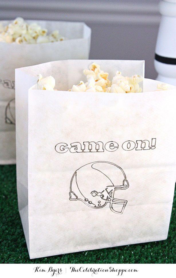 Easy DIY Tailgate Popcorn Bags | Kim Byers, TheCelebrationShoppe.com