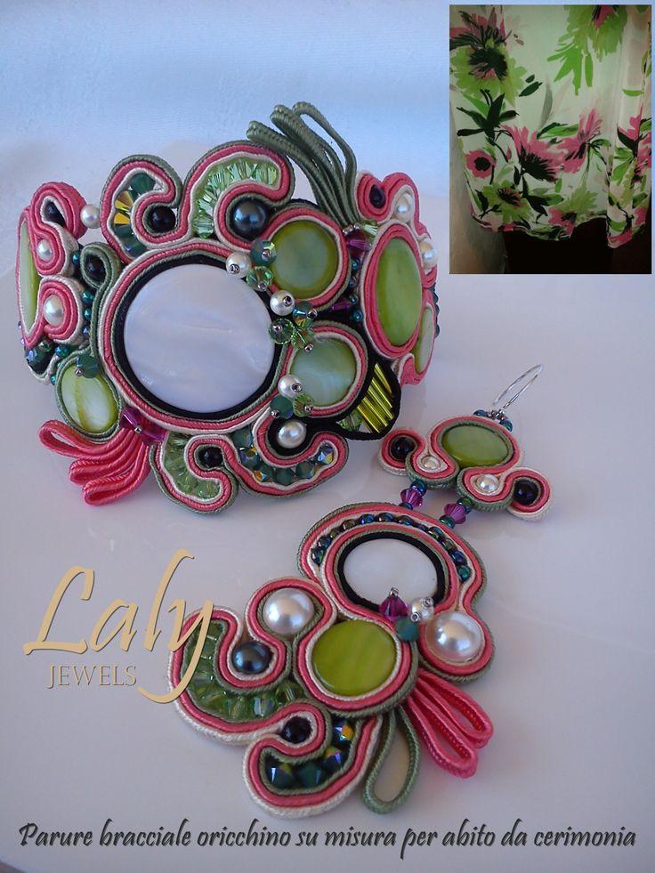 """Parure soutache """"flowers"""" (finiture argento 925) Bracciale € 130,00 Orecchini € 70,00   (Non disponibile)"""