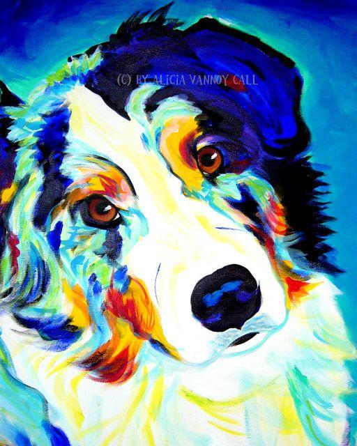Blue Pet Portrait Aussie Dog Art Print 8x10 by Alicia VanNoy Call