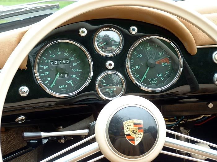 Gauge cluster on a 1955 Porsche Speedster 356 (Pre-A)