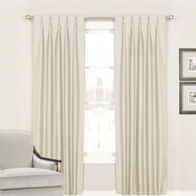 Villa Pinch Pleat Curtains Shantung Faux Silk Look Ivory I More Colours
