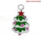"20PCs Silver Tone Enamel Christmas Tree Charms Pendants 26mm x 15mm(1""x 5/8"") $3.18"