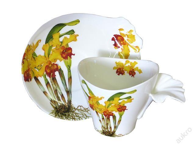 Hrnek, šálek porcelán orchidej