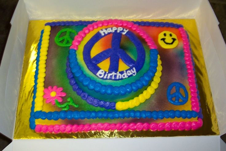 Peace Love Sheet Cakes | Tie Dye Peace Sign Cake — Children's Birthday Cakes
