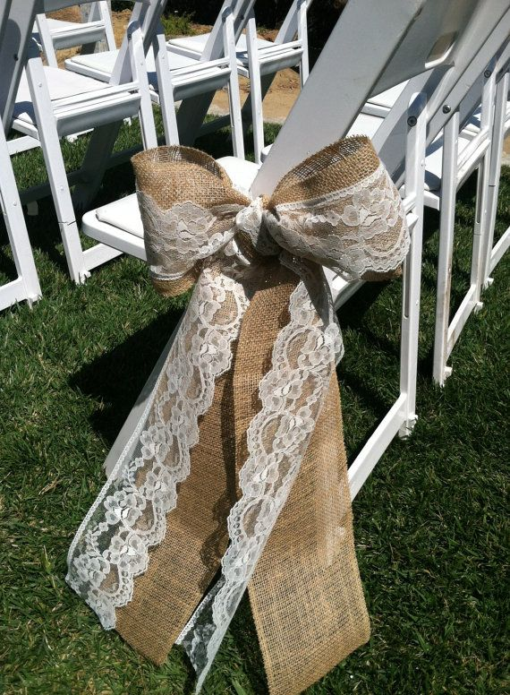 Burlap and Lace Wedding Ceremony Bow Aisle Decorations. Love the burlap theme!