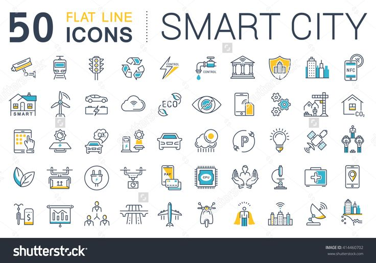 Set vector line icons in flat design smart city and technology with elements for mobile concepts and web apps. Collection modern infographic logo and …