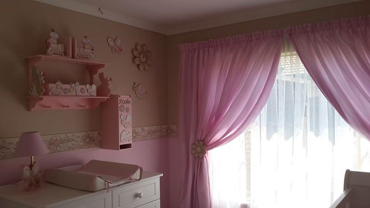 Pink and stone nursery - linen and wallpaper borders available on order. orders@borderboutique.co.za