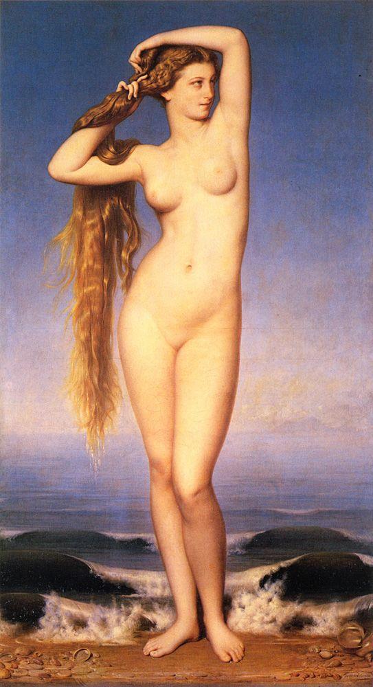 비너스의 탄생. 릴 미술관 소장. by 외젠 엠마뉘엘 아모리 뒤발(1862년) 동시대의 앵그르의 작품과 대칭적인 모습을 보여주는 그림으로 그 당시 이런 유형의 누드화가 사랑 받았음을 짐작할 수 있다.
