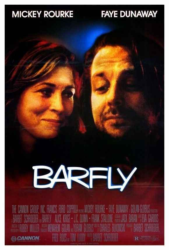 "Barfly 27x40 Movie Poster (1987). CAST: Mickey Rourke, Faye Dunaway, Alice Krige, Frank Stallone, J.C. Quinn, Jack Nance, Charles Bukowski; DIRECTED BY: Barbet Schroeder; WRITTEN BY: Charles Bukowski; CINEMATOGRAPHY BY: Robby Muller; MUSIC BY: Jack Baran. PRODUCER: Cannon Films, Francis Ford Coppola. Features:    27"" x 40""   Packaged with care - ships in sturdy reinforced packing material   Made in the USA  SHIPS IN 1-3 DAYS"