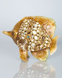 do this to my fish vase.  H7AXA Jay Strongwater Weston Bejeweled Butterfly Fish Figurine