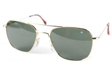 AO Original Pilot Sunglasses, Gold, Wire Spatula, Green Glass Lenses - 52mm G-TCGG-WS-52