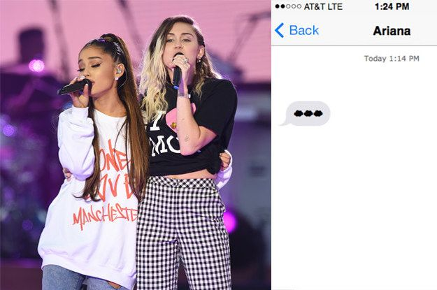 Here S What Miley Cyrus Texted Ariana Grande After Her Breakup