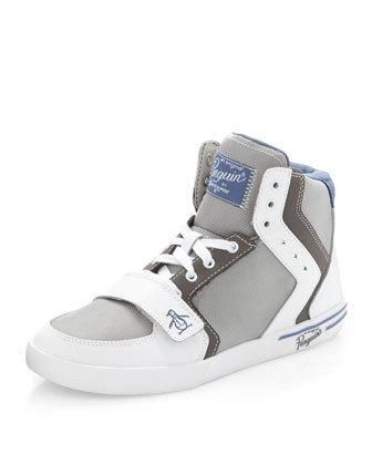 Penguin Moby High-Top Sneaker, White/Pewter