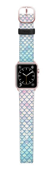Casetify Apple Watch Band (38mm) Saffiano Leather Watch Band - Spring Mermaid Scales by Art Love Passion