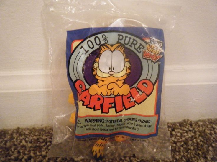 Vintage Wendy's Kids Meal 100% Pure GARFIELD Plastic Suction Cup Toy MISP #Wendys