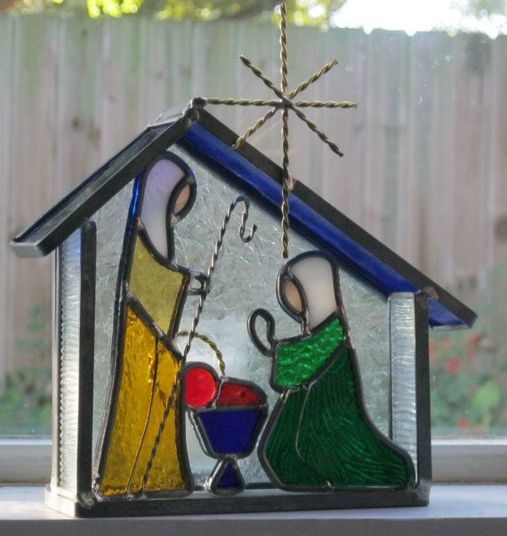 Stained Glass Nativity Candle Stable Scene with a by windshop