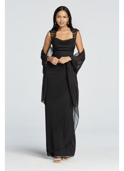 Cap Sleeve Long Jersey Dress with Lace Detail XS2195
