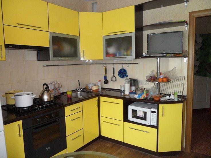 Угловая кухня жёлтый и венге | Акварель-мебель
