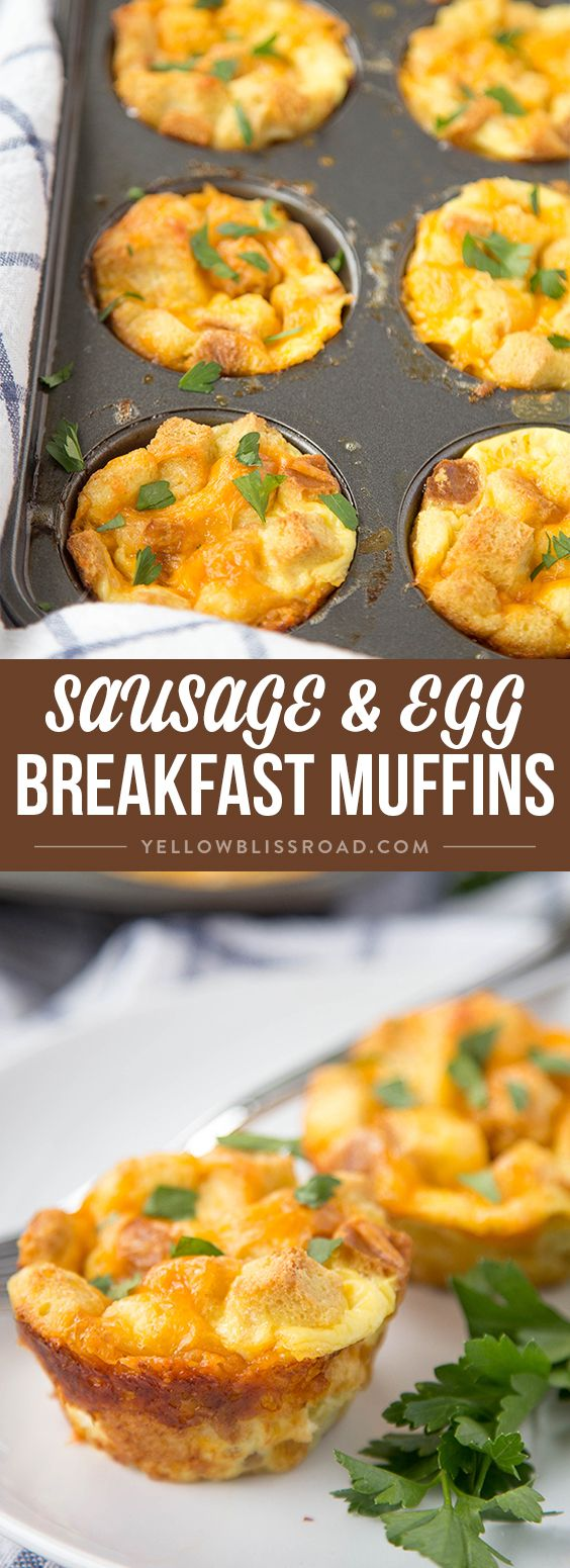 Easy Sausage & Egg Breakfast Muffins - Super quick to whip up and freezes beautifully. Made with seasoned stuffing mix for a delicious twist!