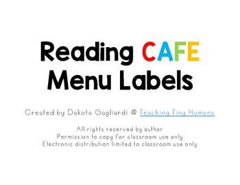 Daily Reading CAFE Menu Labels - Dakota Gagliardi @ Teaching Tiny Humans