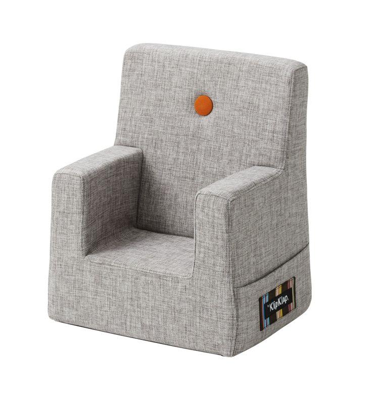 KlipKlap Børnestol Lysegrå stof m/orange knap