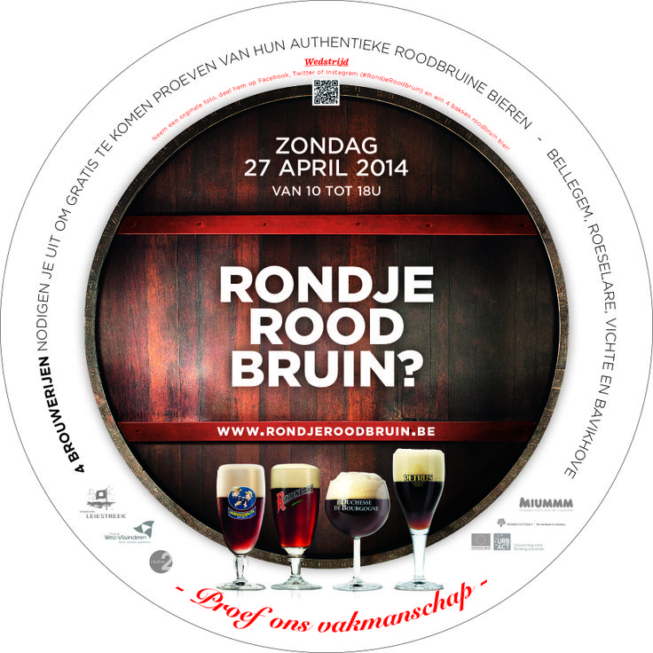 On Sunday, April 27, 2014 (Heritage Day), the breweries of Rodenbach, De Brabandere, Bockor and Verhaeghe welcome you to the second edition of Rondje Roodbruin. From 10:00 a.m. to 6:00 p.m., individual visitors can discover these four breweries for free and of course enjoy a delicious Rodenbach, Petrus Oud Bruin, VanderGhinste Oud Bruin or a Duchesse de Bourgogne! More info: www.rondjeroodbruin.be