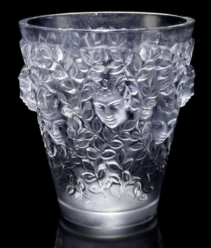 René Lalique  'Silènes' a Vase, design 1938  frosted and polished glass, heightened with grey staining  20cm high, etched 'R. Lalique France'
