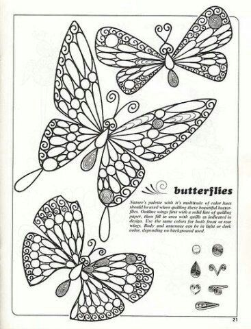 Butterfly sketch for quilling