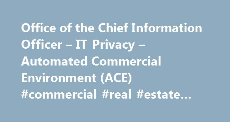 Office of the Chief Information Officer – IT Privacy – Automated Commercial Environment (ACE) #commercial #real #estate #listings #for #sale http://commercial.remmont.com/office-of-the-chief-information-officer-it-privacy-automated-commercial-environment-ace-commercial-real-estate-listings-for-sale/  #commercial environment definition # Automated Commercial Environment (ACE) Integration into U.S. Customs and Border Protection's Automated Commercial Environment (ACE) through the International…