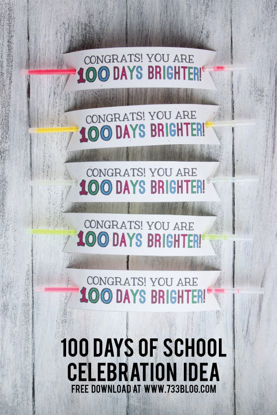 100 Days of School Bracelet Idea with free printable