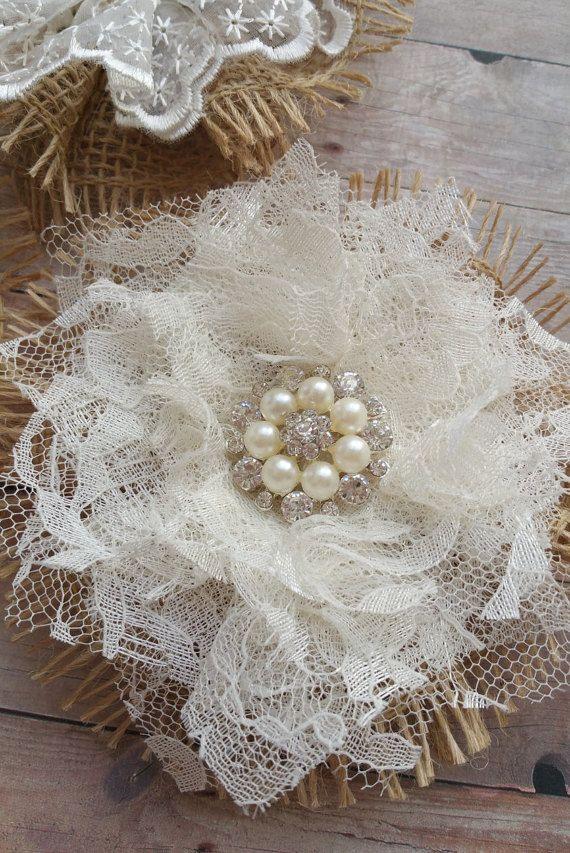 Pizzi e fiori della tela da imballaggio di CountryChicBowtic