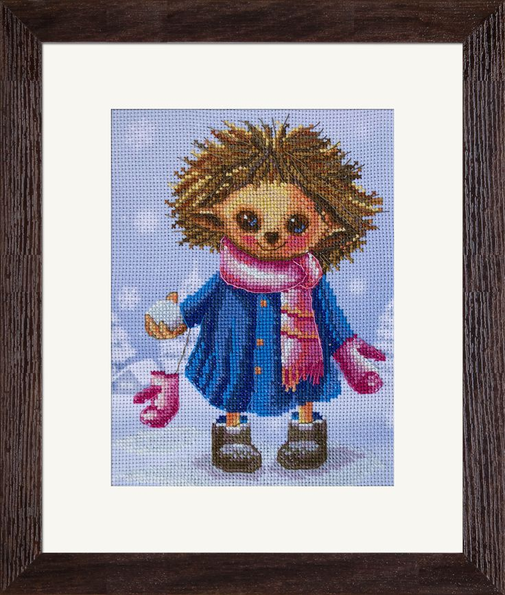 CB5544 Snowballs. Cross stitch kits with canvas with printed