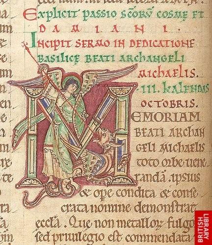 Detail of historiated initial.    Origin: England, S. E. (Canterbury)