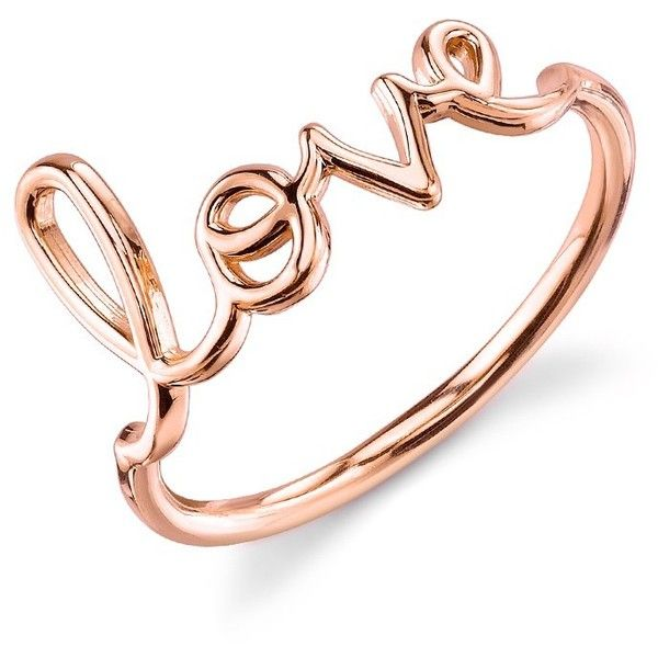 Rose-Gold Love Ring sydney evan ($495) ❤ liked on Polyvore featuring jewelry, rings, sydney evan, 14 karat gold ring, 14k gold band ring, red gold jewelry and 14k rose gold ring