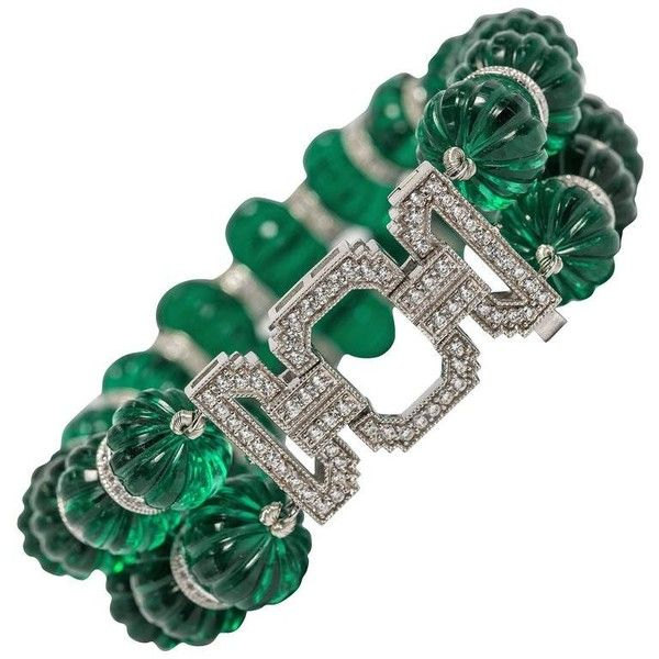 Preowned Maharajah Jewel Collection Carved Faux Emerald Bead Diamond... ($1,200) ❤ liked on Polyvore featuring jewelry, bracelets, green, pre owned jewelry, fake jewelry, beaded bangles, fake diamond jewelry and emerald green jewelry