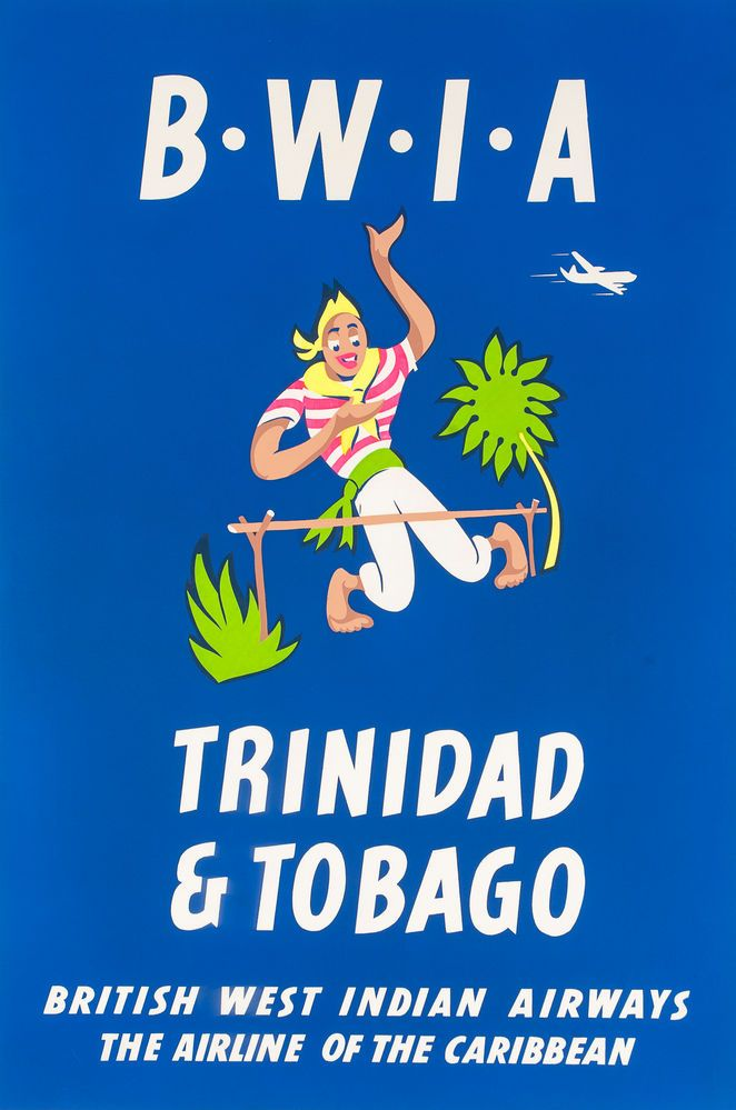 B.W.I.A, Trinidad and Tobago. British West Indian Airways. The Airline of the Caribbean. Travel Poster