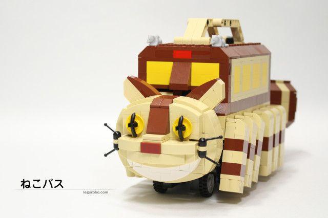 "Japanese LEGO builder Tomoyuki Wakata (aka ""LEGOROBO"") has created a functioning custom LEGO sculpture of the animated character Catbus from Hayao Miyazaki 's classic film, My Neighbor Totoro."