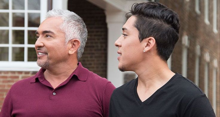 Close-up of Cesar Millan and his son Andre Millan