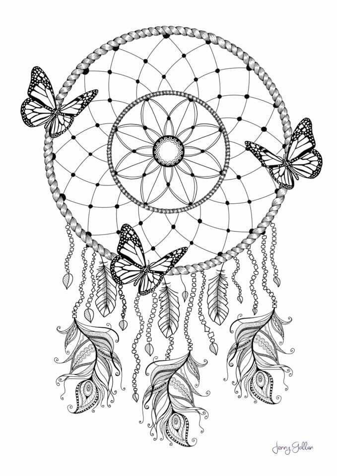 Dream Catcher Coloring Page Butterfly Coloring Page Dream Catcher Coloring Pages Mandala Coloring Pages