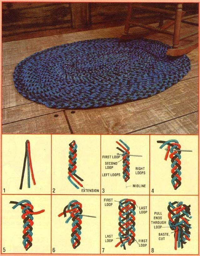No-Sew Interwoven Braided Rug. For those who like homemade rugs but hate sewing the braids together. #diyragrugstepbystep #HomemadeRugs #diyragrugbraided