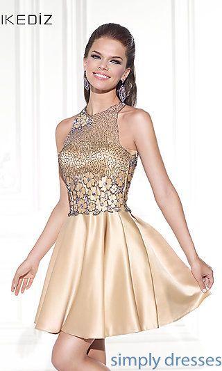 Short Metallic Prom Dress by Tarik Ediz at SimplyDresses.com