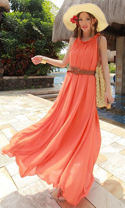Flounced large chiffon beach dress orange