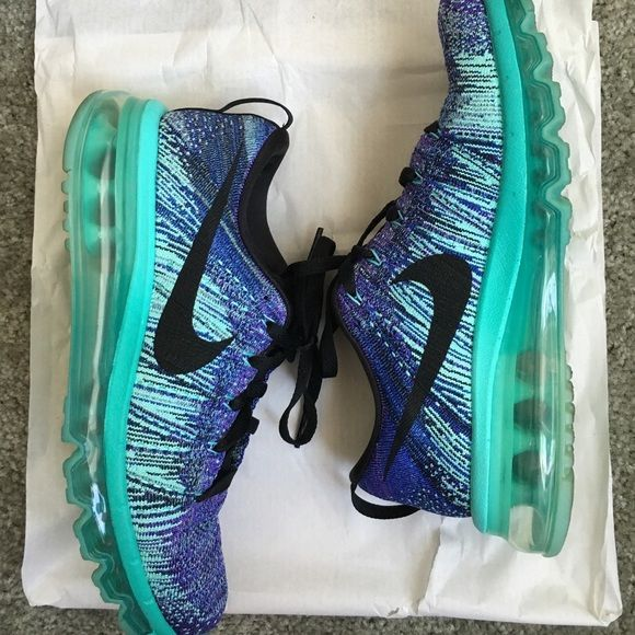 Nike flyknit airmax Great condition. Only worn twice. Purple and teal. Fit sole. Women's sizing. Nike Shoes Sneakers
