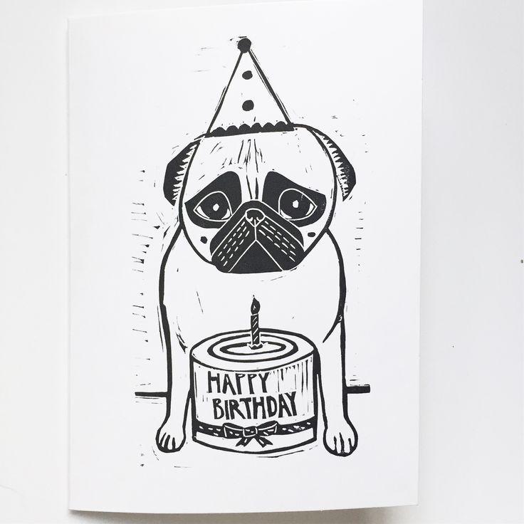 Puggy Birthday Pug birthday card