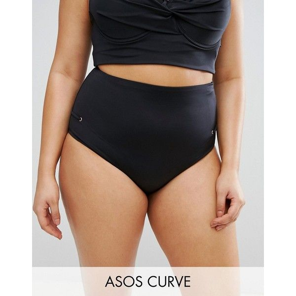 ASOS CURVE Mix and Match Bikini Bottoms with Eyelets (24 CAD) ❤ liked on Polyvore featuring swimwear, bikinis, bikini bottoms, black, plus size, plus size swim wear, plus size bikini bottoms, high rise bikini bottoms, highwaisted bikini bottoms and plus size bikini