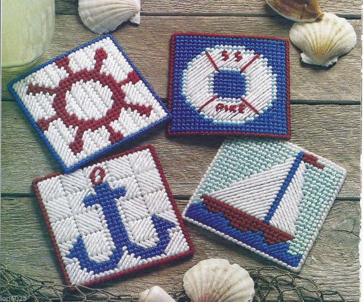 **NAUTICAL COASTERS - PATTERN ONLY**PLASTIC CANVAS PATTERN**