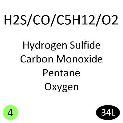 Hydrogen Sulfide 25 PPM, Carbon Monoxide 100 PPM, Pentane 25% LEL (0.35%), Oxygen 19%, Nitrogen Balance, 34L Calibration Gas