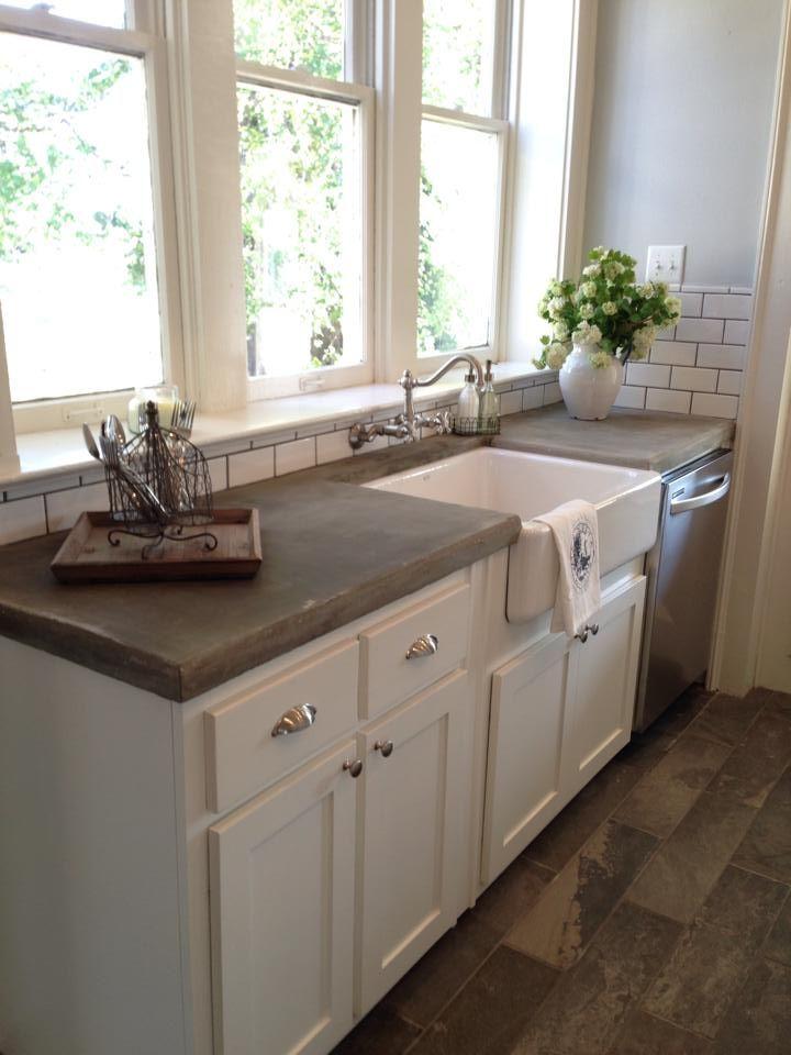 Concrete Counters And A Farm Sink Via The Magnolia Mom
