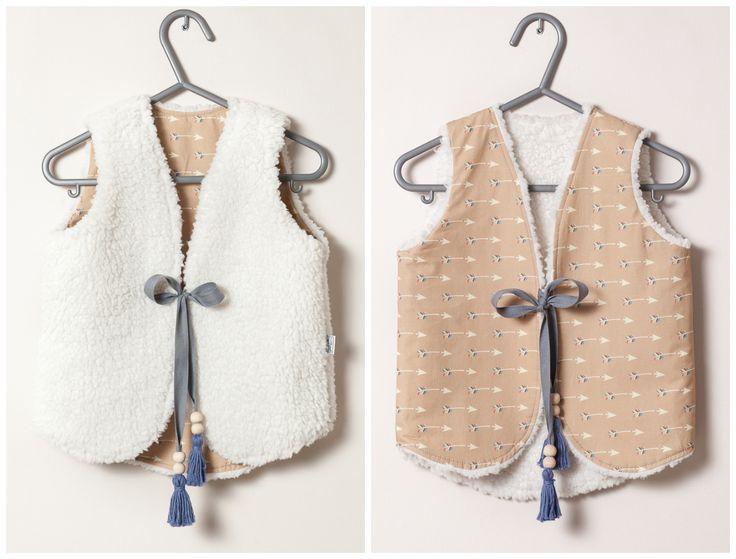 Two-sided Uzumati vest (arrows + minky sherpa in ivory)